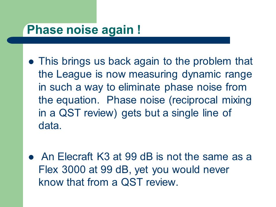 Phase noise again !