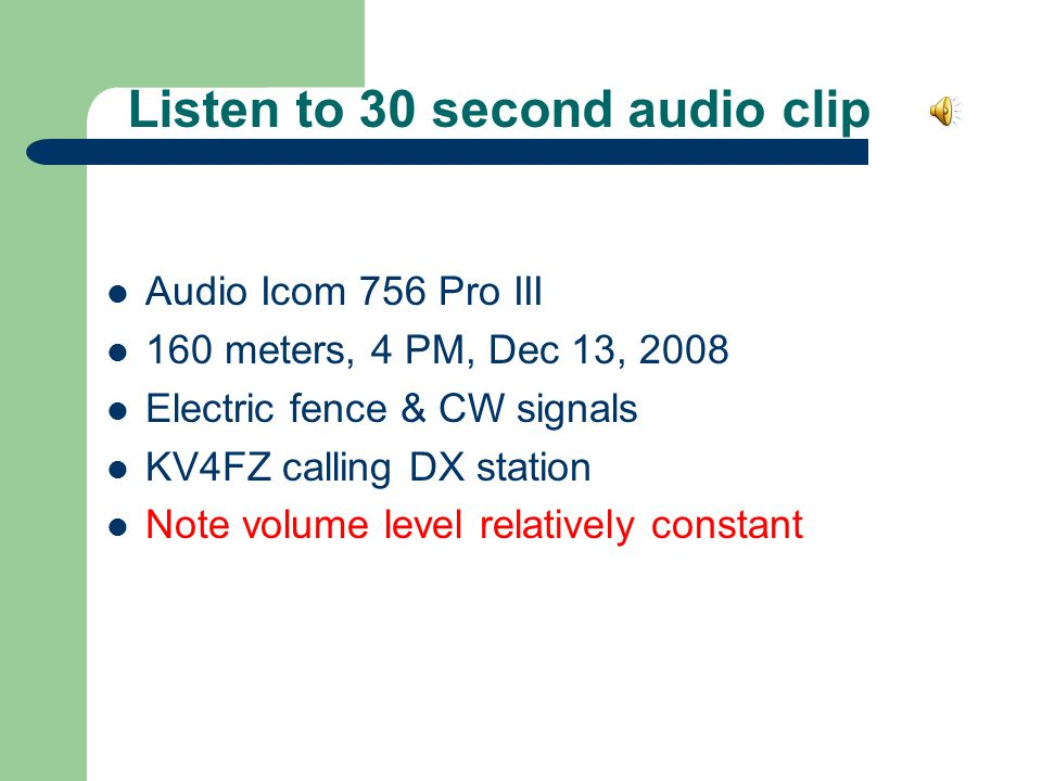 Listen to 30 second audio clip