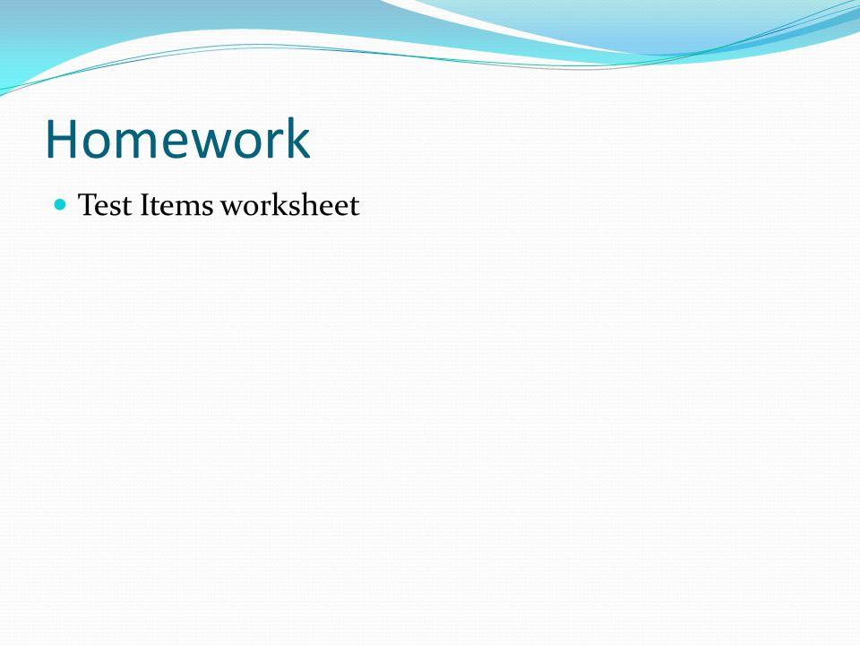 Homework Test Items worksheet