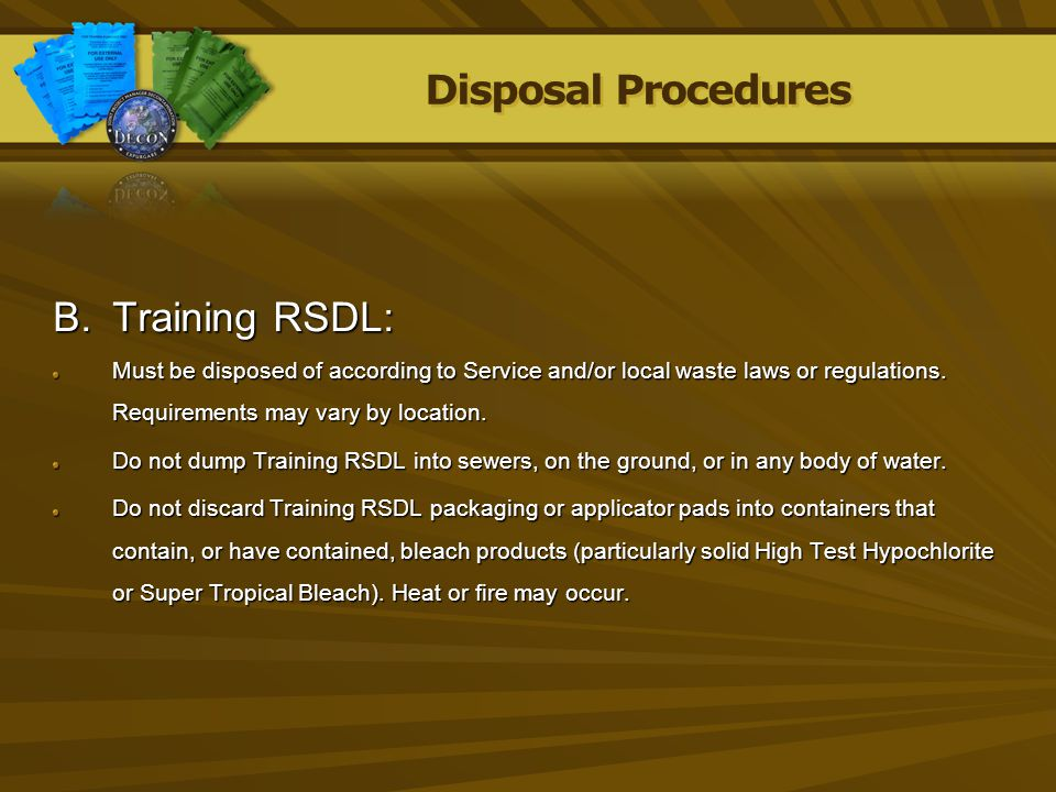 Disposal Procedures Training RSDL: