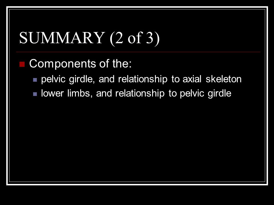 SUMMARY (2 of 3) Components of the: