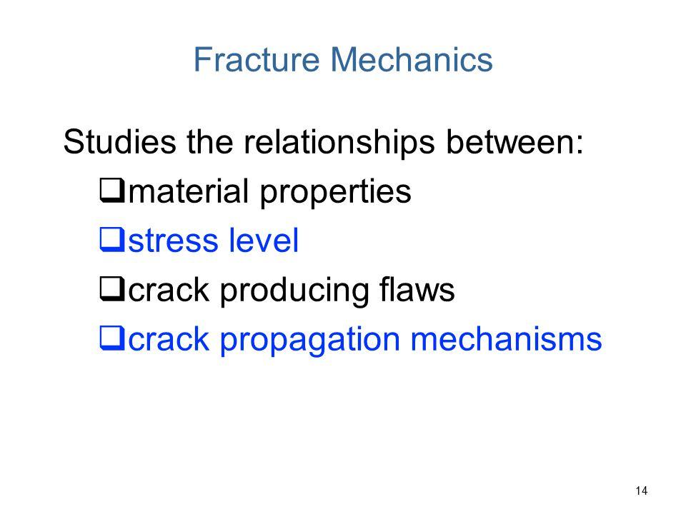 Fracture Mechanics Studies the relationships between: material properties. stress level. crack producing flaws.
