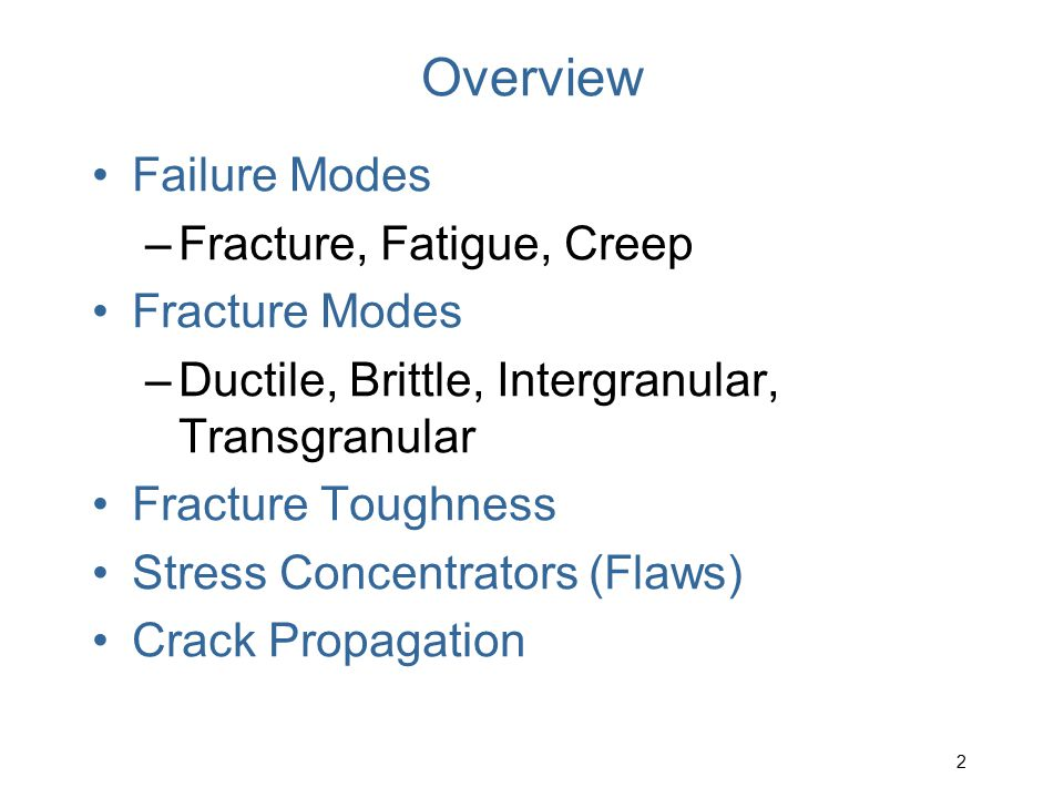 Overview Failure Modes Fracture, Fatigue, Creep Fracture Modes