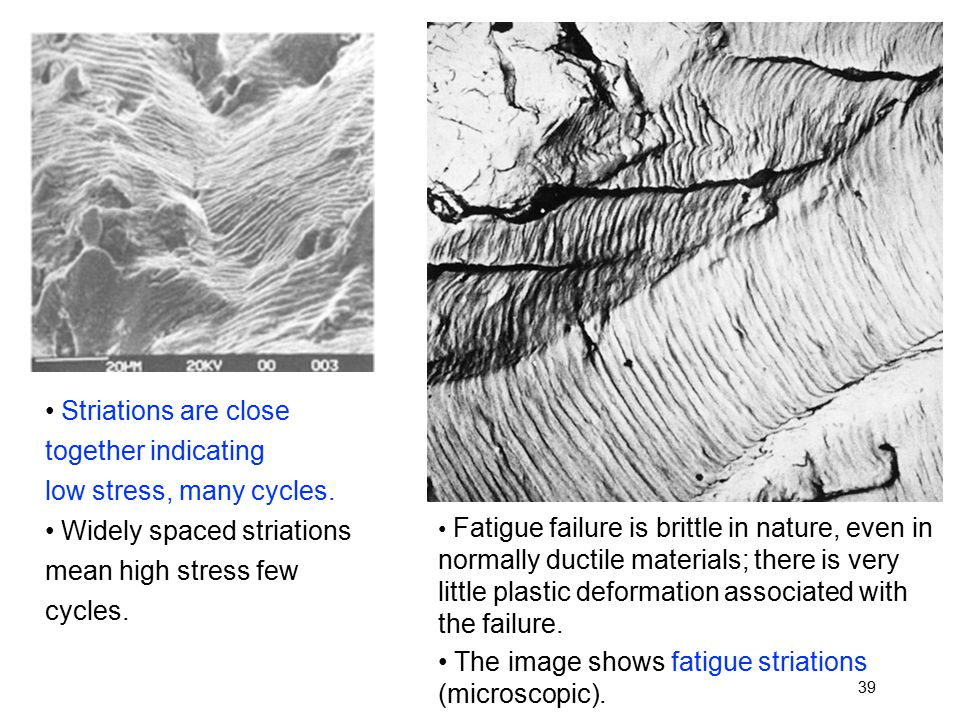 Striations are close together indicating low stress, many cycles.