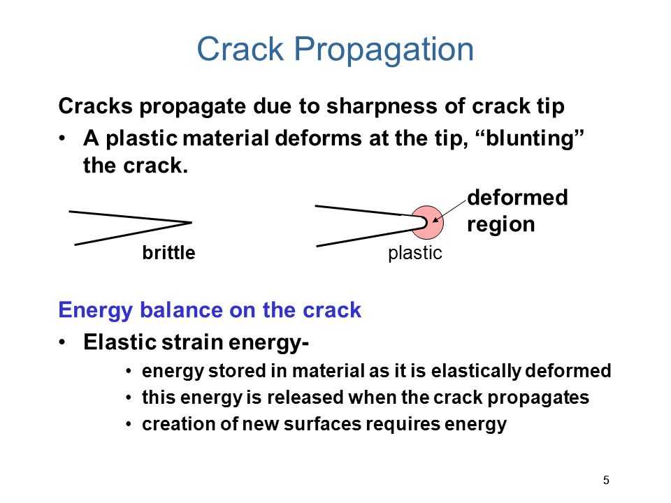 Crack Propagation Cracks propagate due to sharpness of crack tip