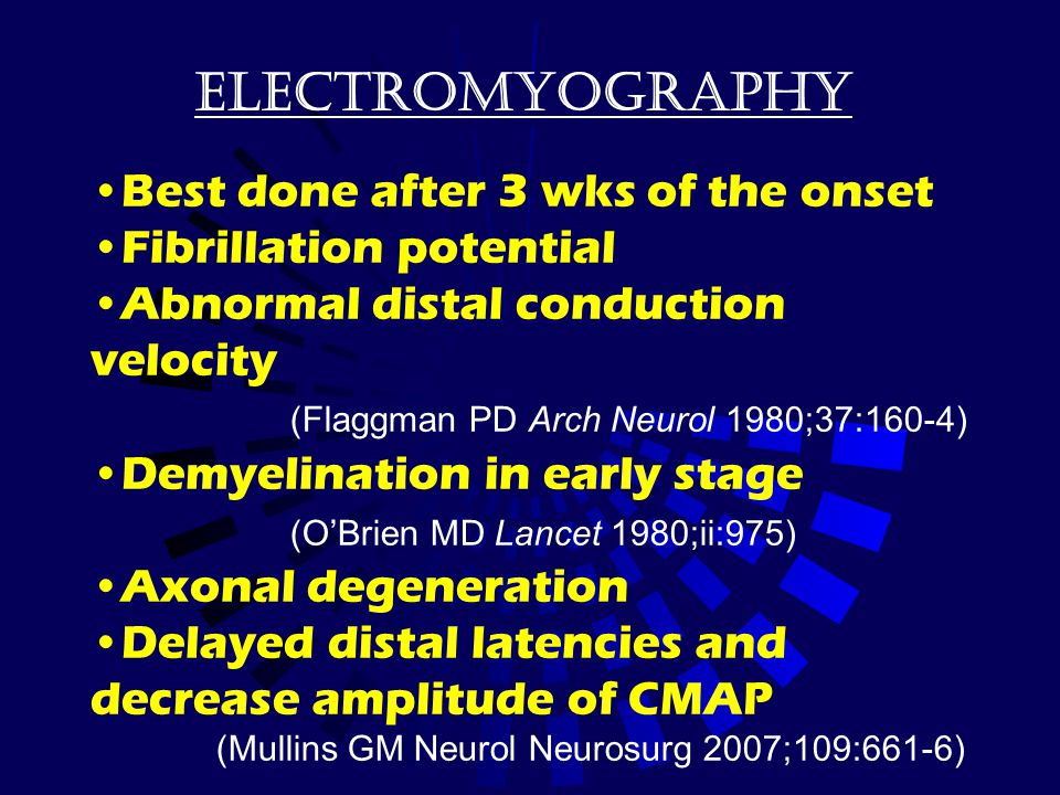 electromyography Best done after 3 wks of the onset