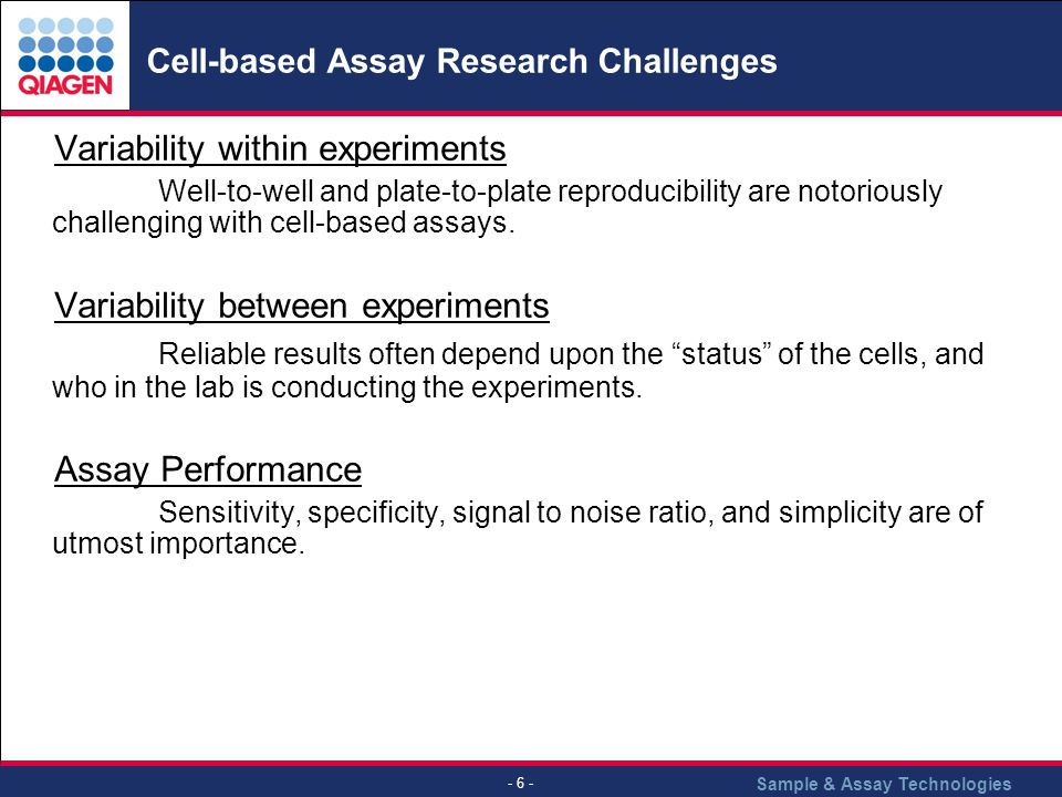 Cell-based Assay Research Challenges