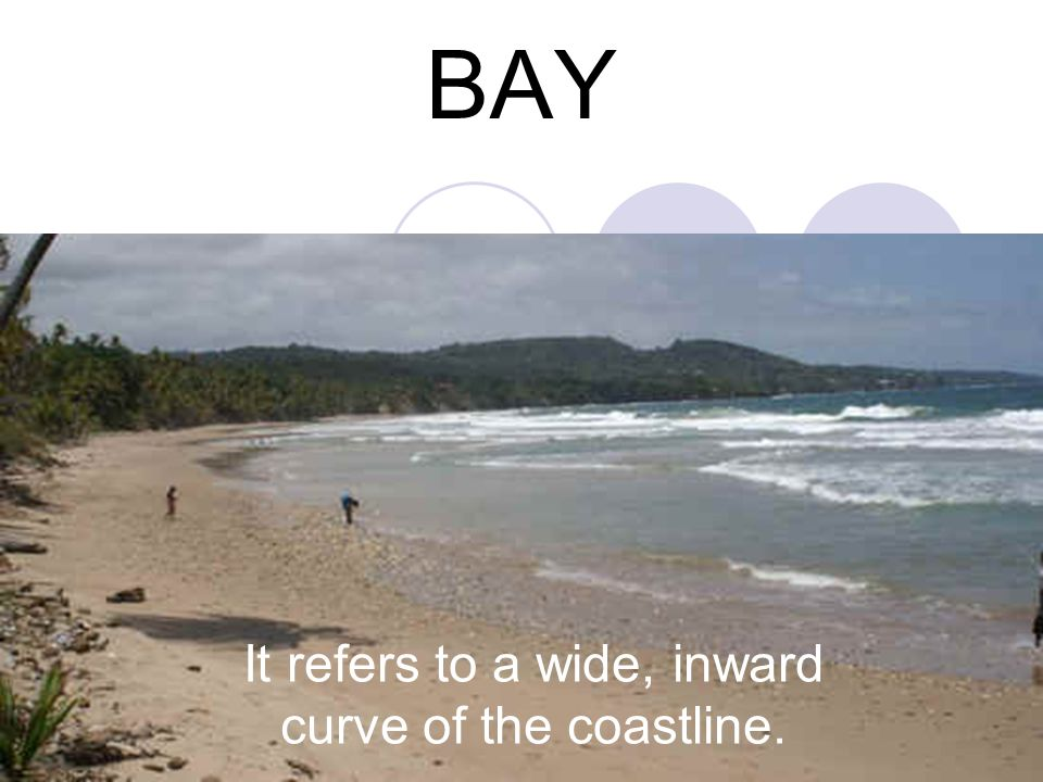 It refers to a wide, inward curve of the coastline.