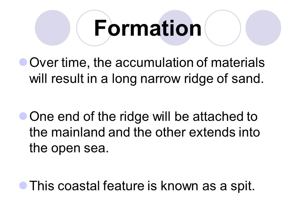 Formation Over time, the accumulation of materials will result in a long narrow ridge of sand.