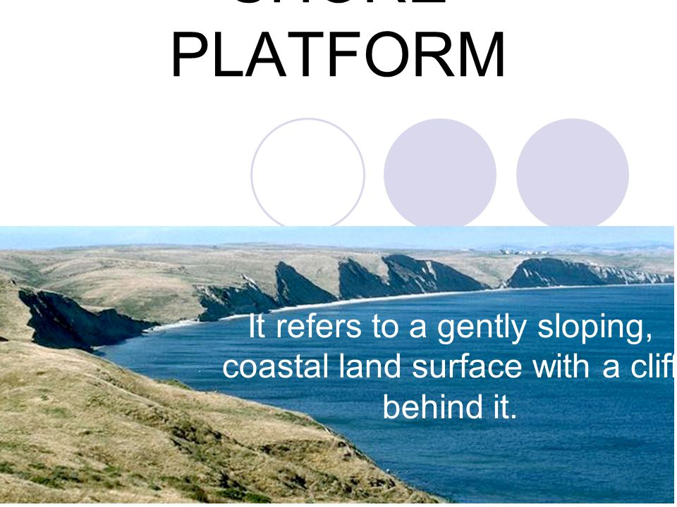 SHORE PLATFORM It refers to a gently sloping, coastal land surface with a cliff behind it.