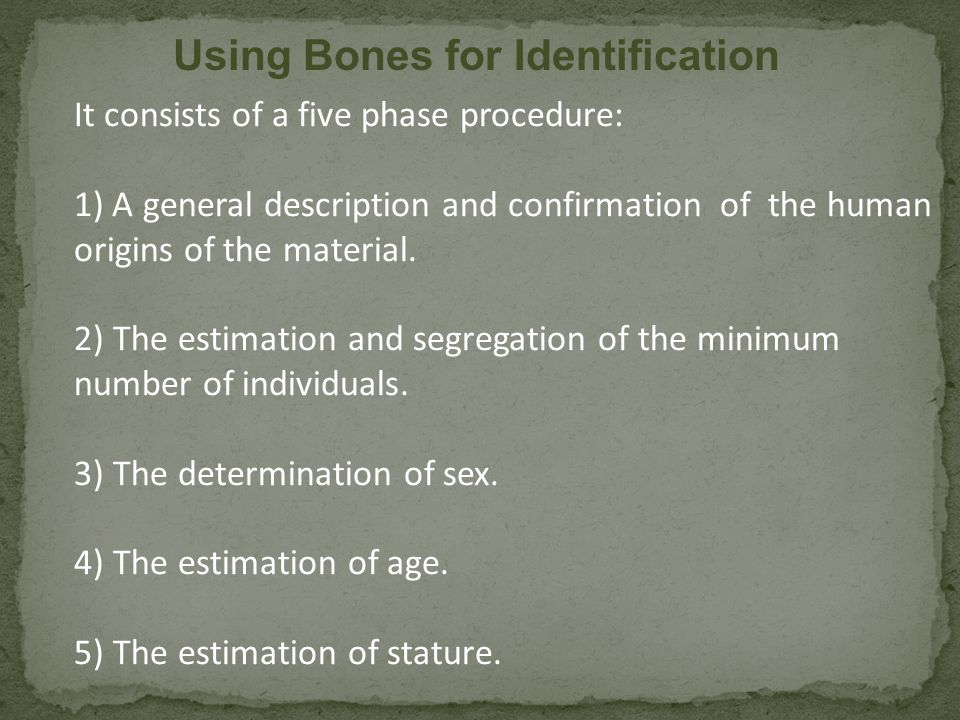 Using Bones for Identification