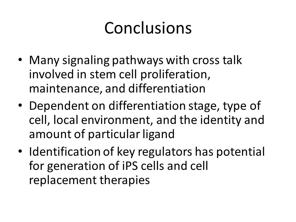 Conclusions Many signaling pathways with cross talk involved in stem cell proliferation, maintenance, and differentiation.
