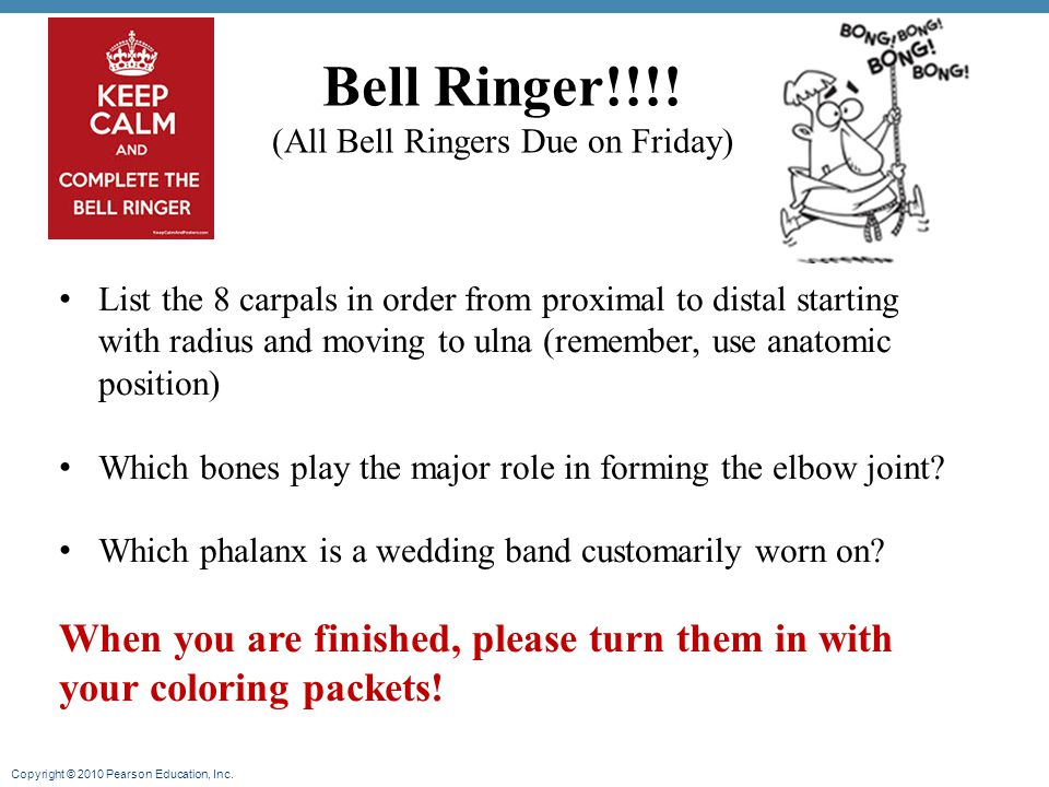 (All Bell Ringers Due on Friday)