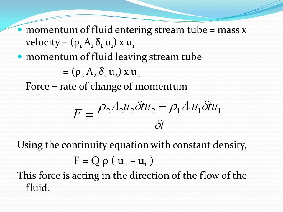 momentum of fluid entering stream tube = mass x velocity = (ρ1 A1 δt u1) x u1