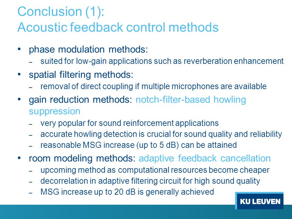 Conclusion (1): Acoustic feedback control methods