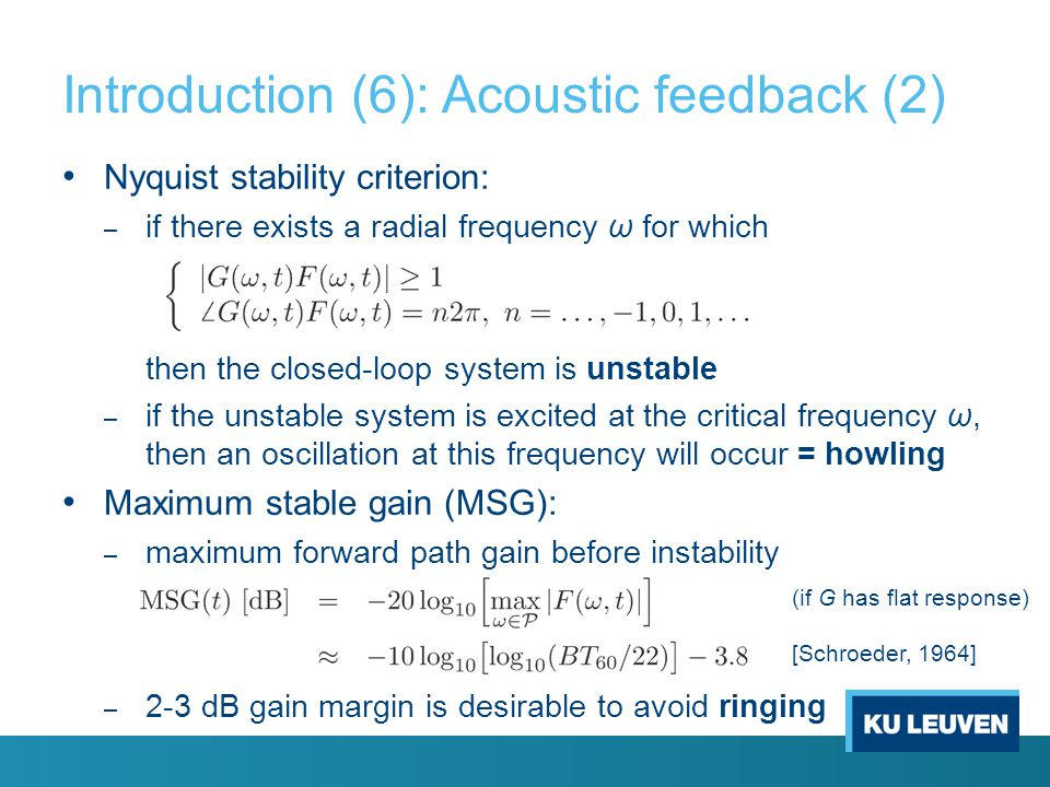 Introduction (6): Acoustic feedback (2)