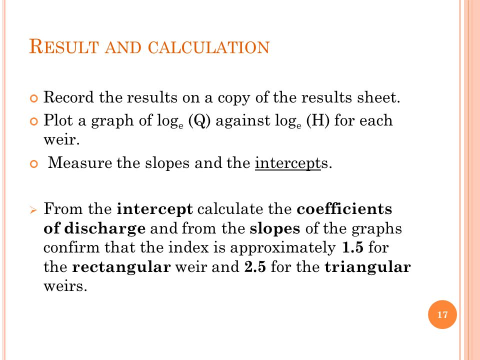 Result and calculation