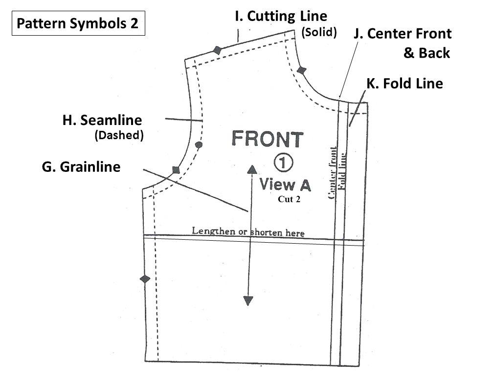 I. Cutting Line Pattern Symbols 2 J. Center Front & Back K. Fold Line