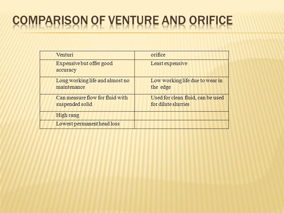 Comparison of venture and orifice
