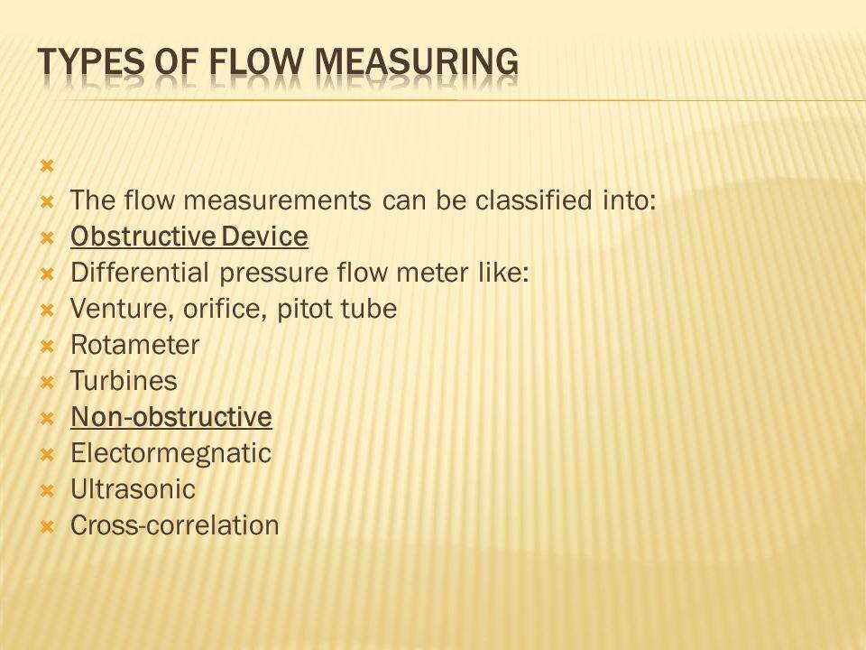 Types of flow measuring