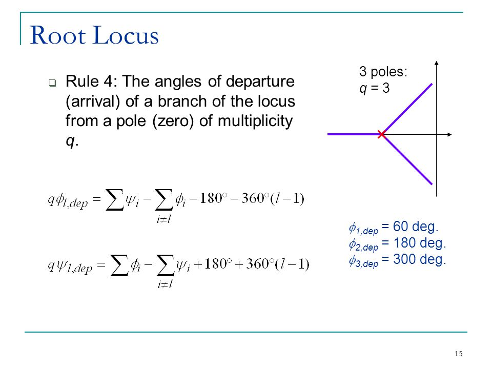 Root Locus 3 poles: q = 3. Rule 4: The angles of departure (arrival) of a branch of the locus from a pole (zero) of multiplicity q.