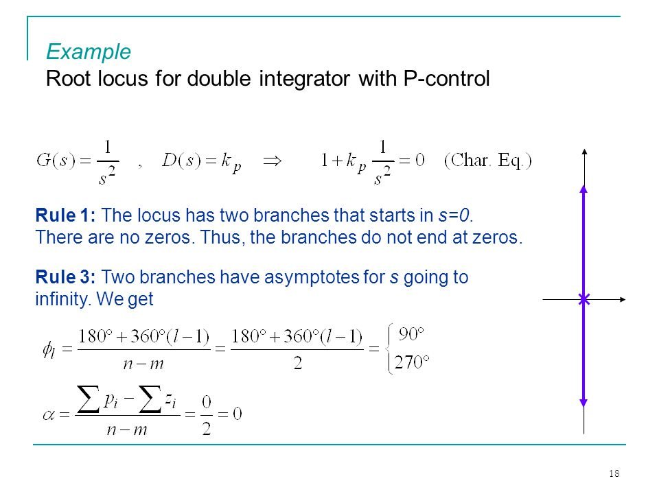 Root locus for double integrator with P-control