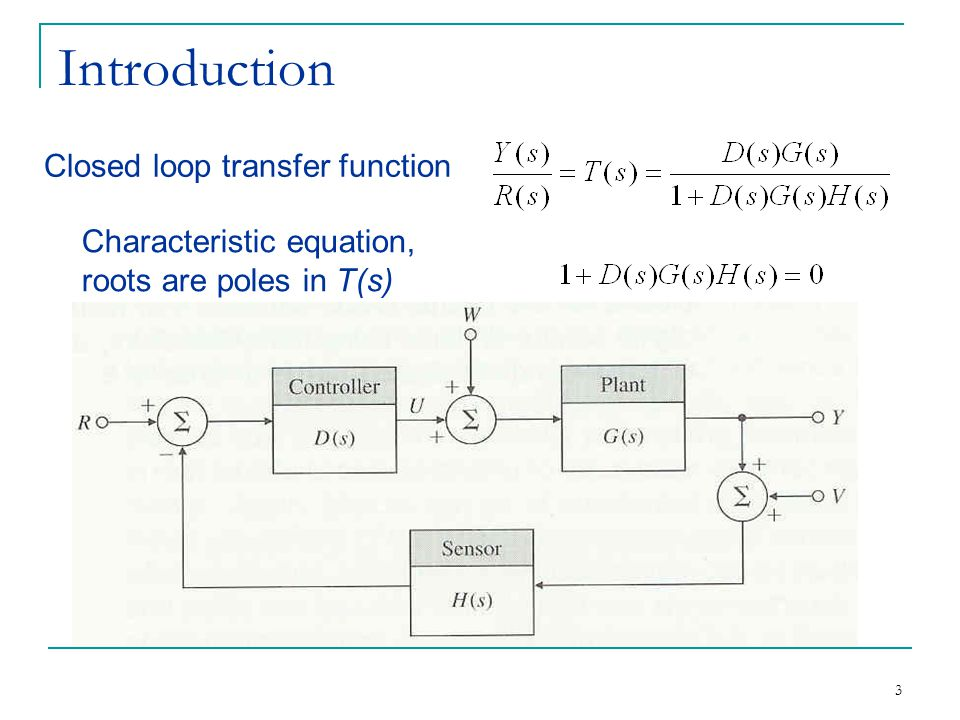 Introduction Closed loop transfer function Characteristic equation,