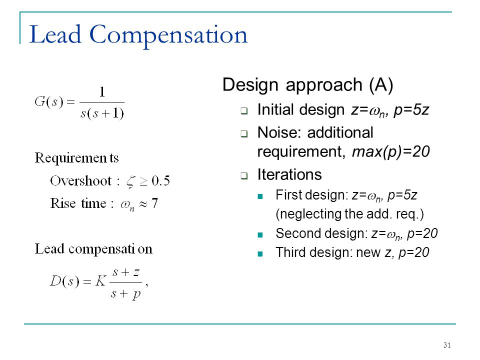 Lead Compensation Design approach (A) Initial design z=wn, p=5z