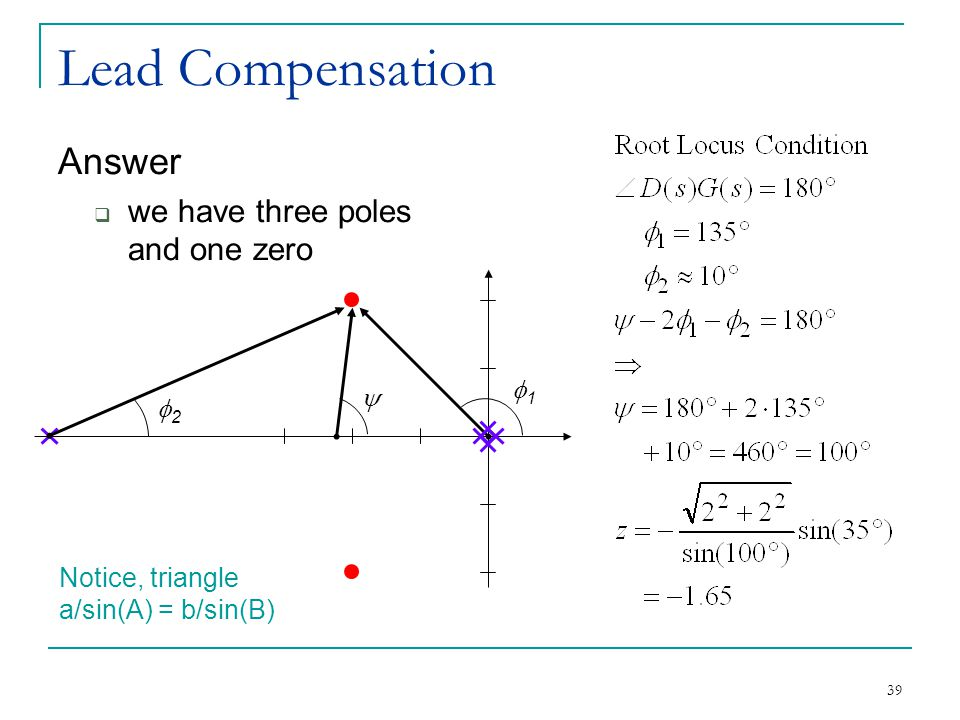 Lead Compensation Answer we have three poles and one zero f1 y f2