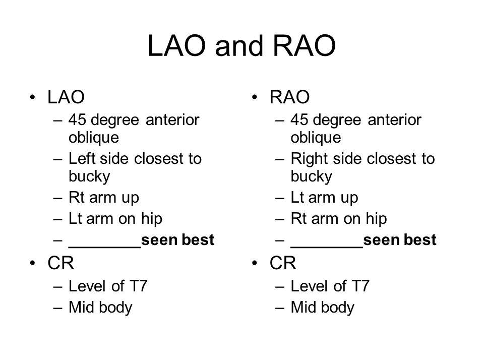 LAO and RAO LAO CR RAO CR 45 degree anterior oblique
