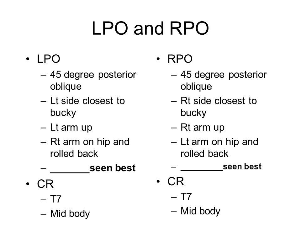 LPO and RPO LPO CR RPO CR 45 degree posterior oblique