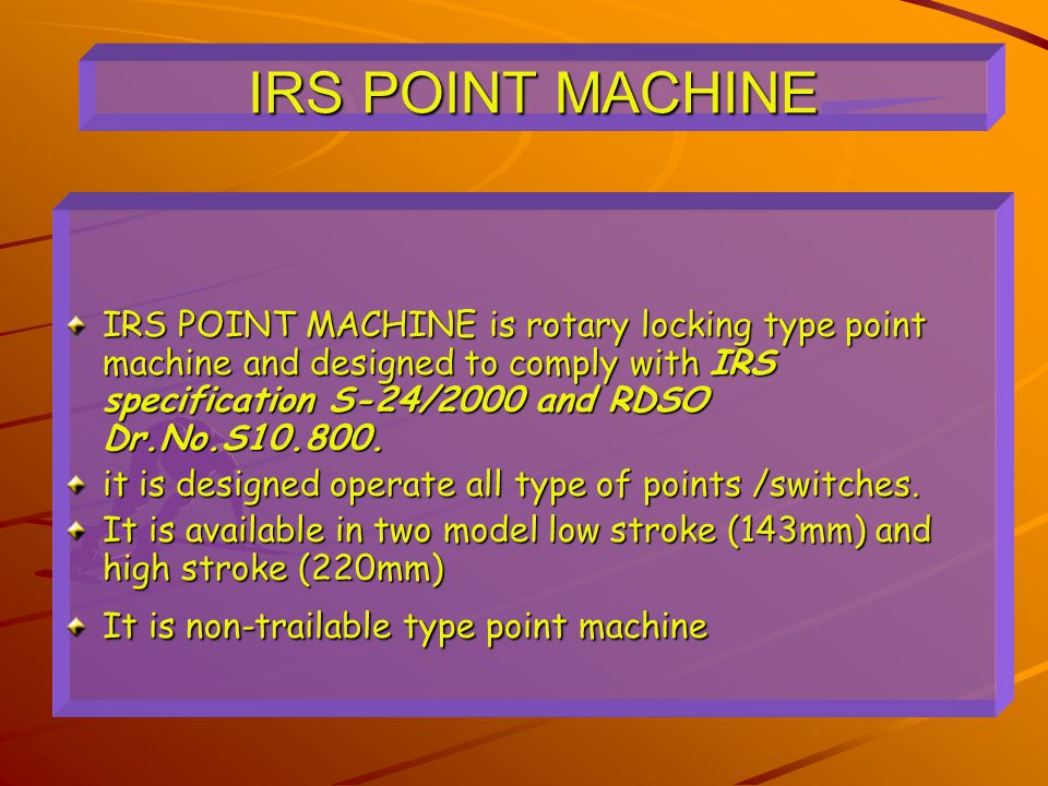 IRS POINT MACHINE