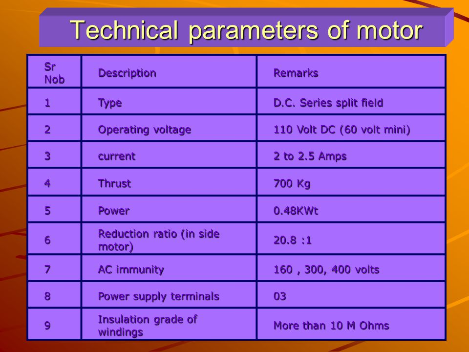 Technical parameters of motor