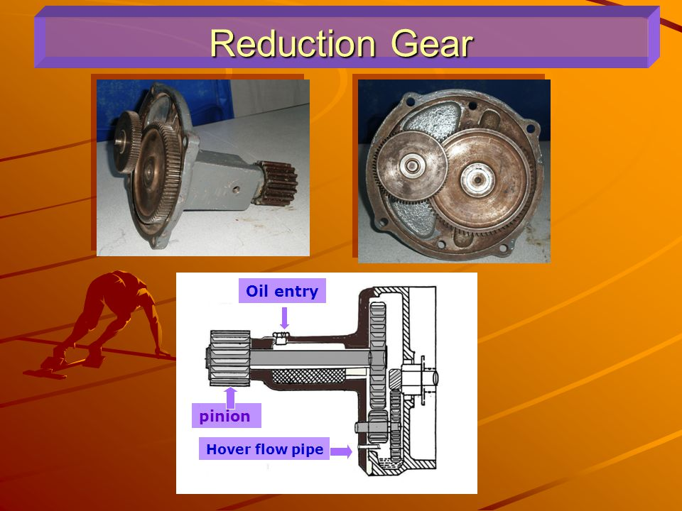 Reduction Gear Oil entry pinion pinion Hover flow pipe