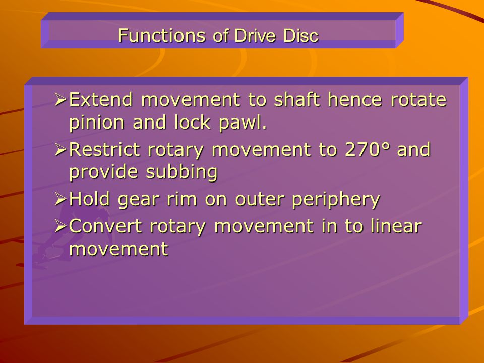 Functions of Drive Disc