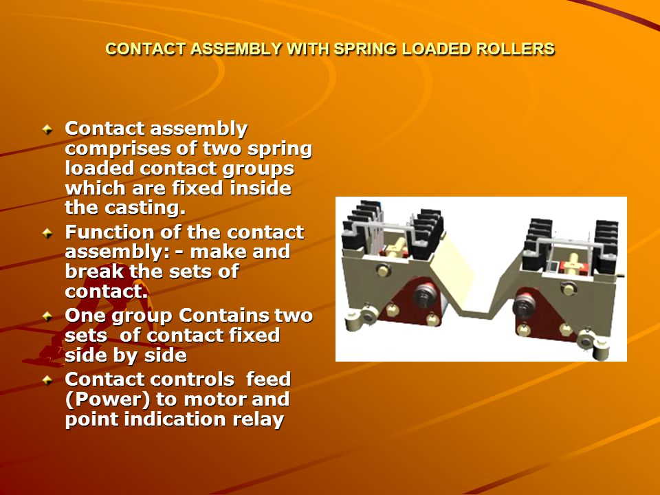 CONTACT ASSEMBLY WITH SPRING LOADED ROLLERS