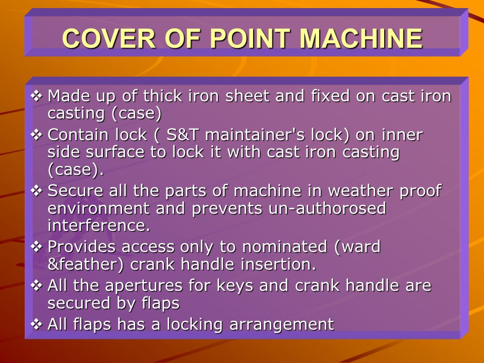 COVER OF POINT MACHINE Made up of thick iron sheet and fixed on cast iron casting (case)