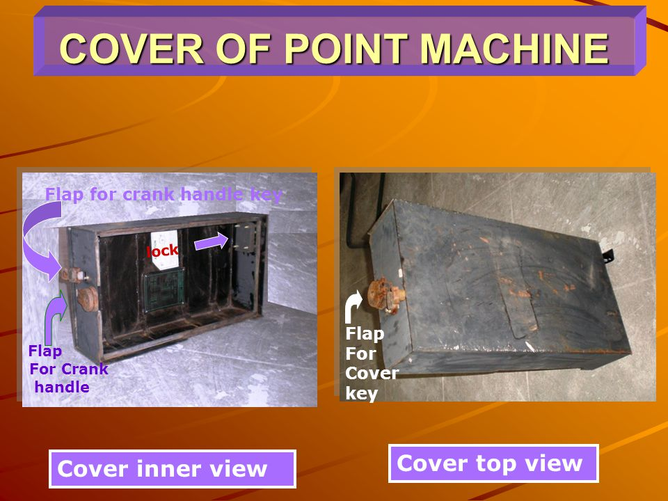 COVER OF POINT MACHINE Cover top view Cover inner view