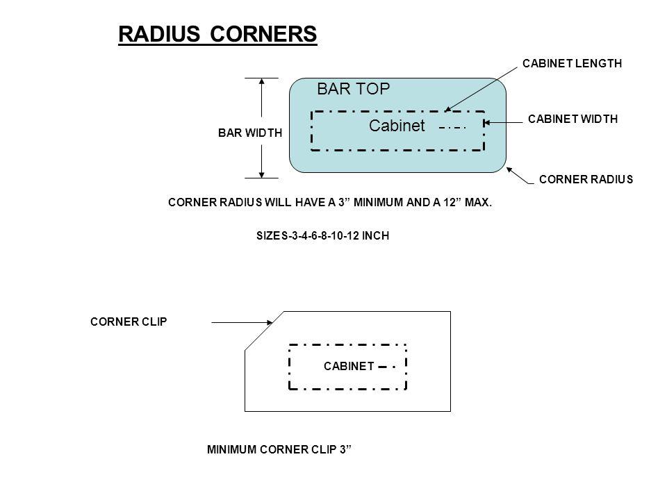 RADIUS CORNERS BAR TOP Cabinet CABINET LENGTH CABINET WIDTH BAR WIDTH