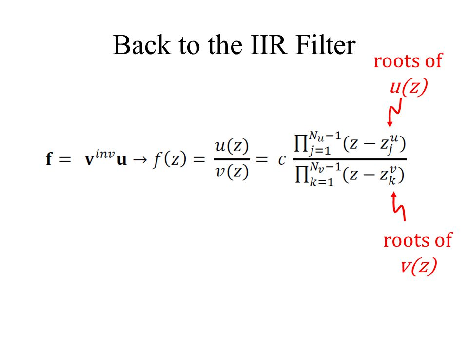 Back to the IIR Filter roots of u(z) roots of v(z)