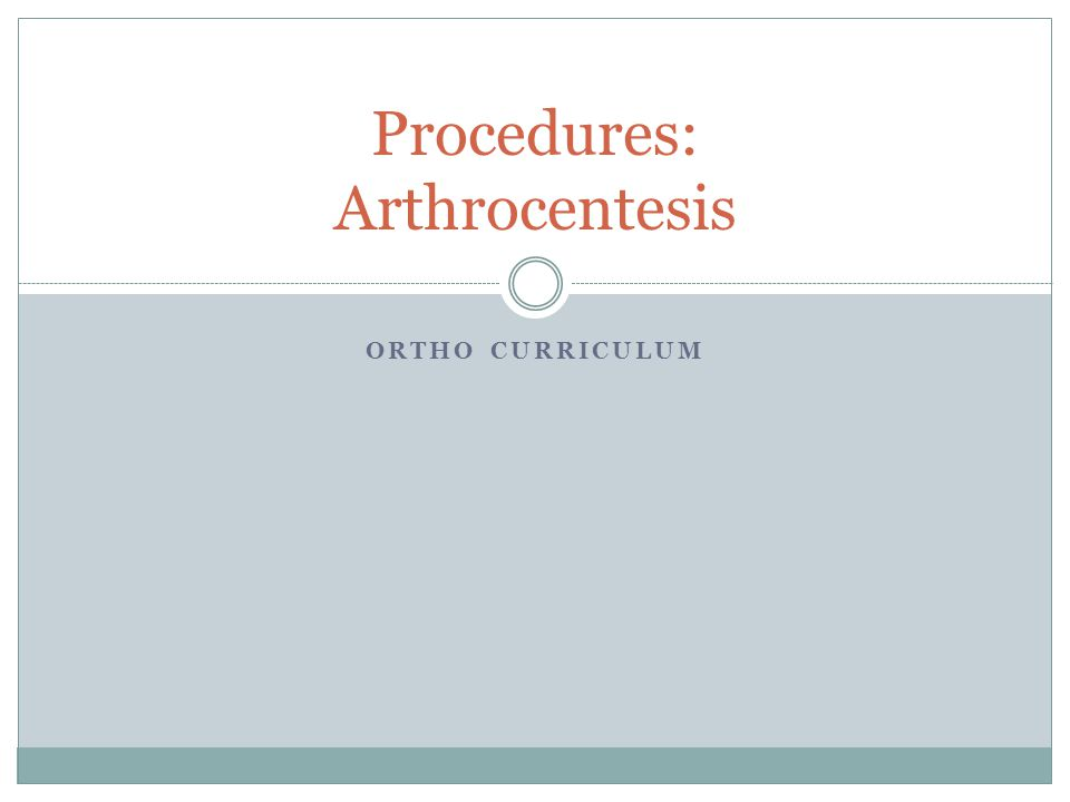 Procedures: Arthrocentesis