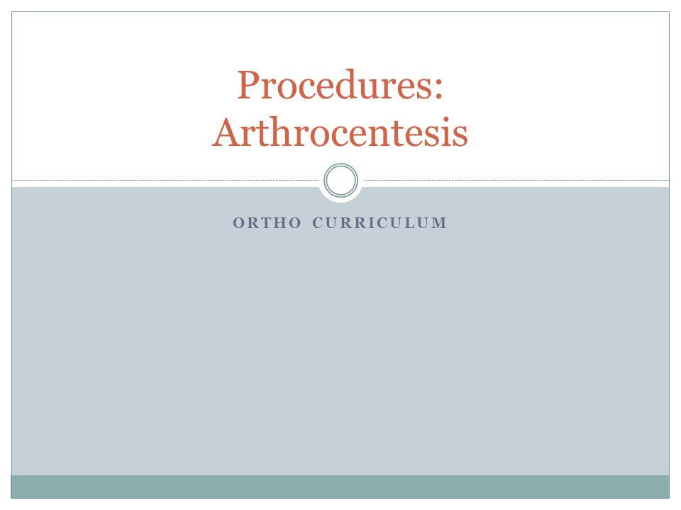Procedures: Arthrocentesis