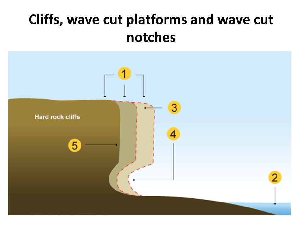 Cliffs, wave cut platforms and wave cut notches