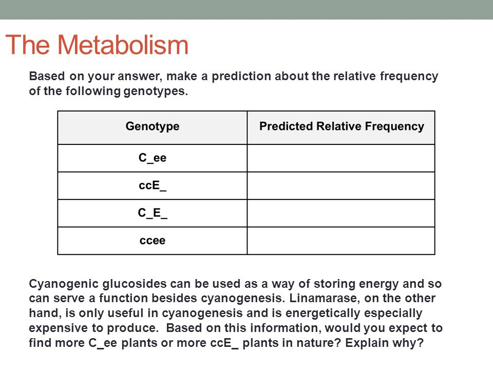 The Metabolism Based on your answer, make a prediction about the relative frequency of the following genotypes.