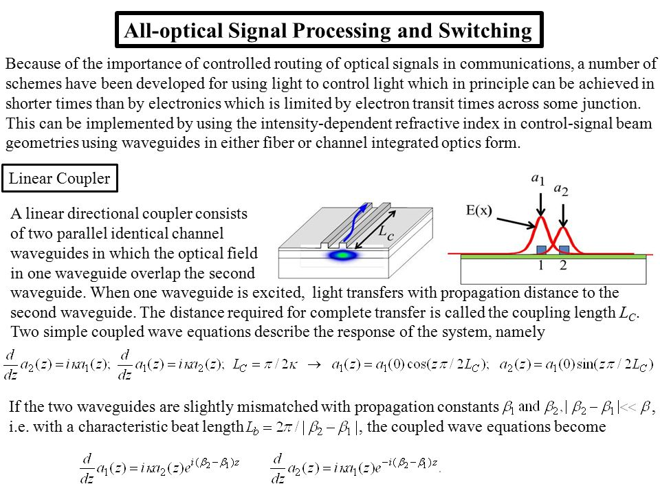 All-optical Signal Processing and Switching