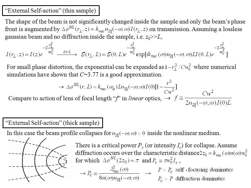 External Self-action (thin sample)
