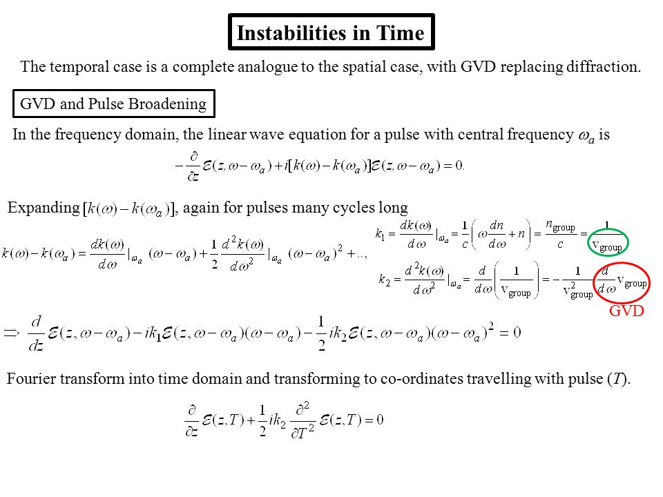 Instabilities in Time The temporal case is a complete analogue to the spatial case, with GVD replacing diffraction.