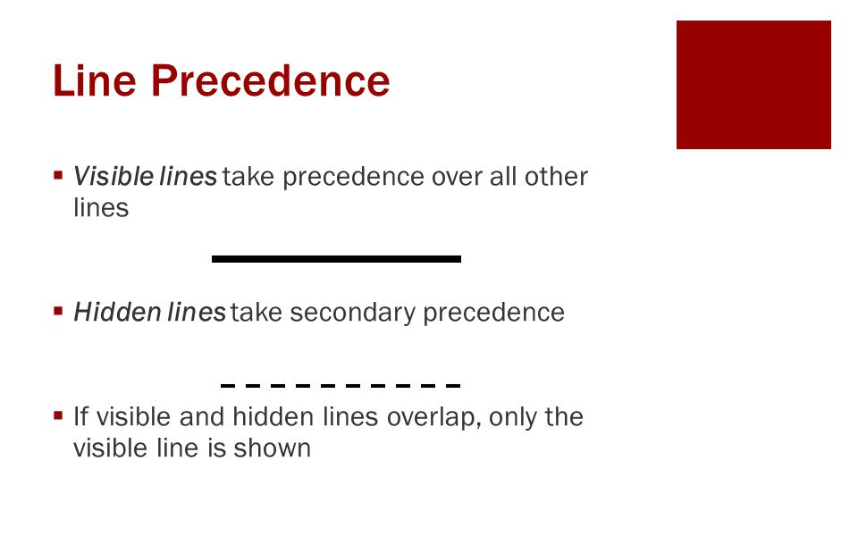 Line Precedence Visible lines take precedence over all other lines