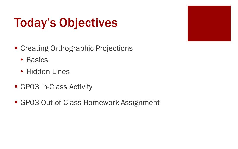 Today's Objectives Creating Orthographic Projections Basics