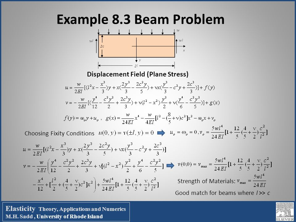 Example 8.3 Beam Problem Displacement Field (Plane Stress)